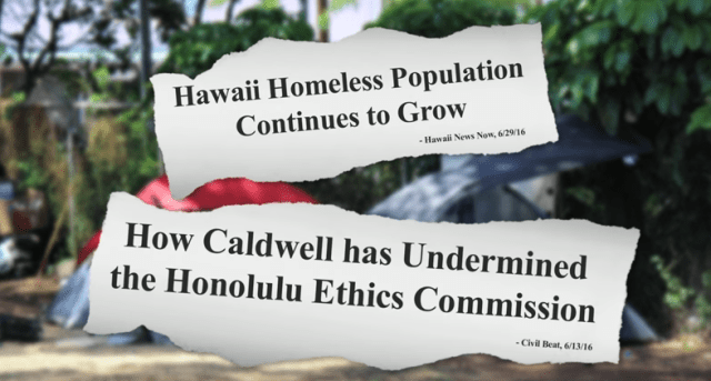 A screen shot from Charles Djou's first television advertisement in the mayoral campaign.