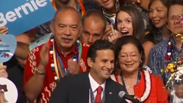 As national television broadcast the Democratic National Convention presidential nomination roll call, Hawaii delegate Chelsea Lyons Kent gave the middle finger.