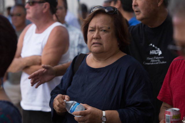 Western Pacific Regional Fishery Management Council Executive Director Kitty Simonds attends a rally against expanding Papahanaumokuakea Marine National Monument on July 15 at Pier 38 in Honolulu.