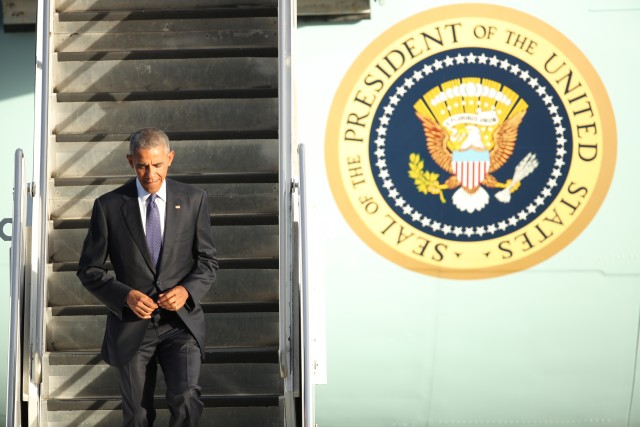 President Barack Obama arrives in Honolulu, Wednesday.
