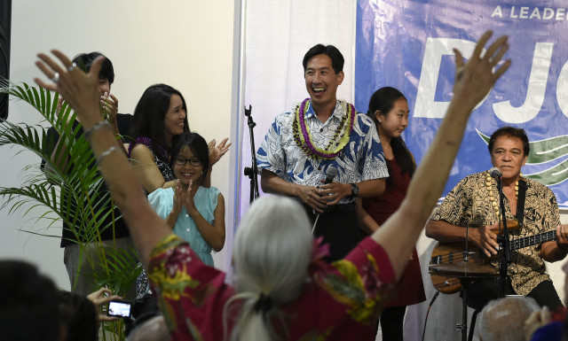 Charles Djou addresses his supporters, Saturday, August 13, 2016 in Honolulu, Hawaii. (Civil Beat photo by Ronen Zilberman)