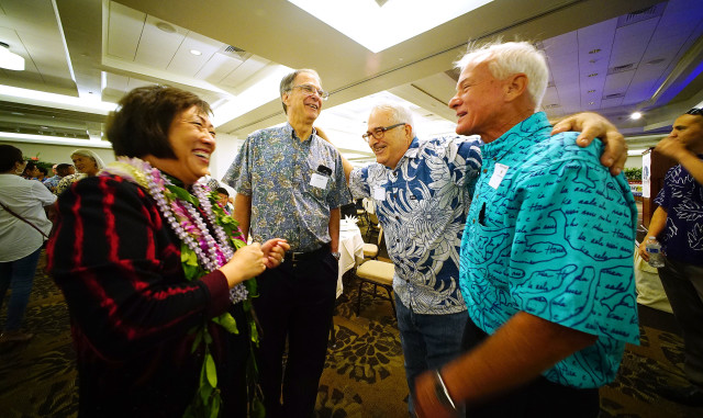 Colleen Hanabusa and Mayor Kirk Caldwell share a light moment before the Hawaii Democratic Party Unity Breakfast held at Dole Cannery ballroom. 14 aug 2016