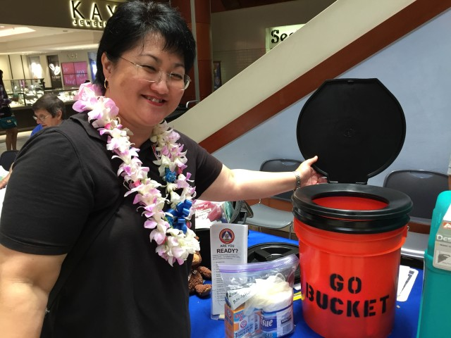 "Crystal van Beelen, Honolulu disaster preparedness officer, and the ""go bucket."""