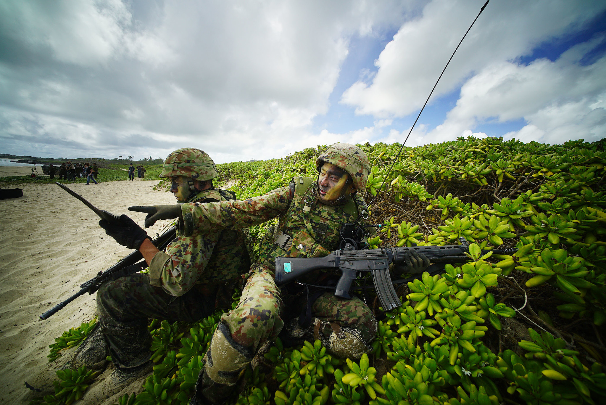 <p>It was an international operation, with members of the Japan Ground Self-Defense Force taking part. A few miles to the south, soldiers from Australia, New Zealand and Tonga joined Americans in an assault exercise at Bellows Beach.</p>