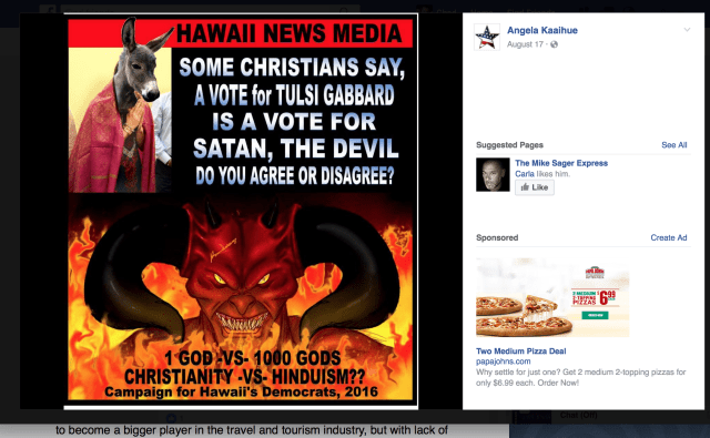 screen shot from Angela Kaaihue's Facebook page. Aug. 19.