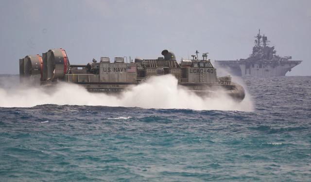 US Marines Landing Craft Air Cushion hovercraft RIMPAC offshore Marine Corps Base Hawaii. 30 july 2016