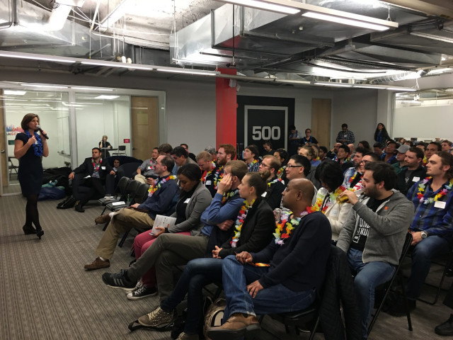 "Each cohort of the Blue Startups accelerator program culminates with a ""demo day"" in San Francisco, hosted by 500 Startups."