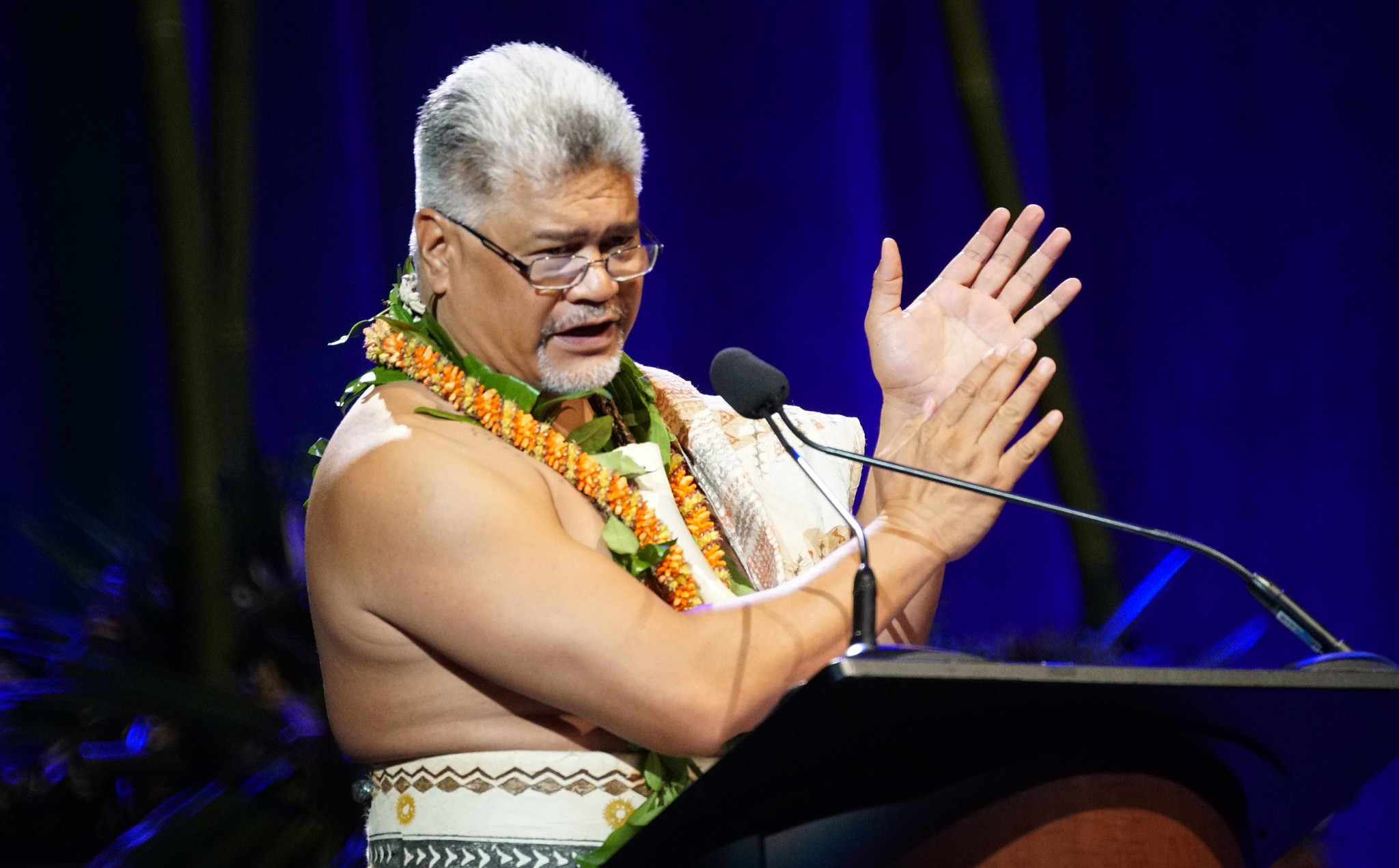 <p>Kamana'opono Crabbe served as master of ceremonies. He is the chief executive officer of the Office of Hawaiian Affairs.</p>