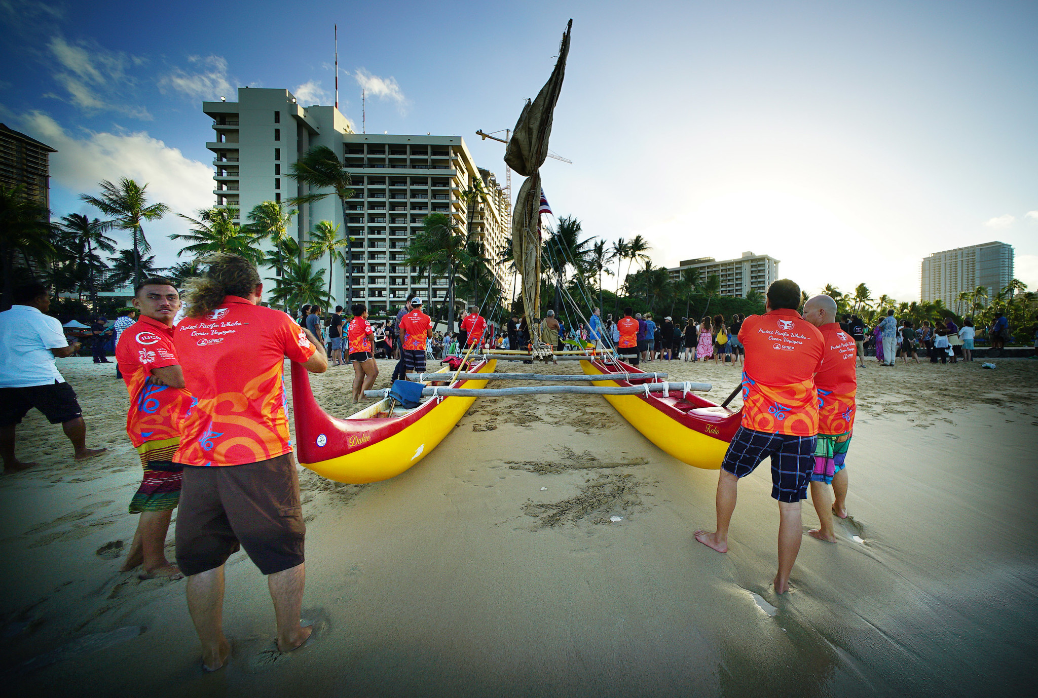 <p>The canoe was pushed ashore. Due to strong winds from Tropical Storm Madeline, only one vessel sailed in.</p>