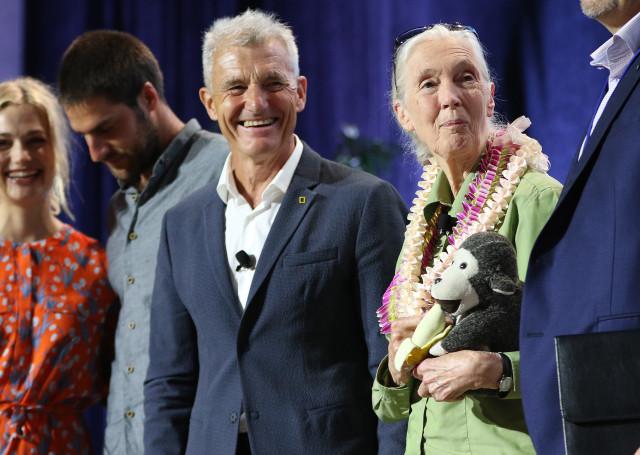 Jane Goodall holds stuffed monkey IUCN. 3 sept 2016