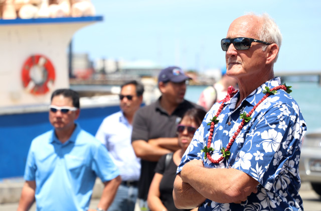 Jim Cook of the Hawaii Longline Association, seen here during a July rally at Pier 38, says the fishing industry is taking action to protect foreign crew from labor abuse.
