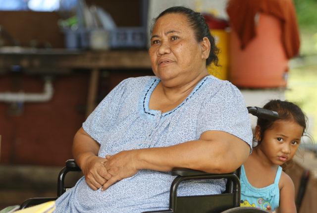 Pagan resident Jacinta Kaipat Pagan resident interviewed at her residence with grandkids in Saipan. 26 aug 2016