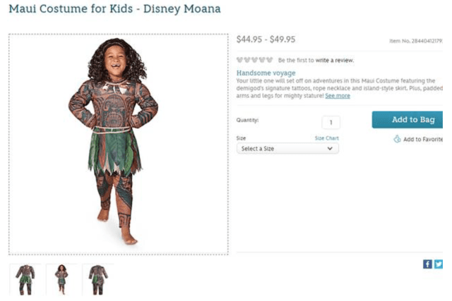 Disney's Maui costume as it appeared on the company's online store website, until Disney pulled it Sept. 21.