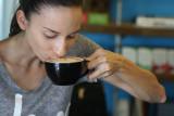 Tiare Kabazawa enjoys a latte at Curb. 3 oct 2016