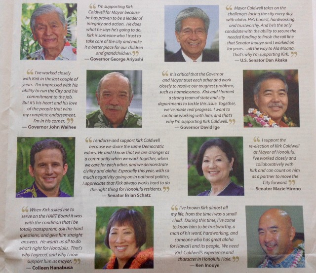 An excerpt from the two-page political advertisement appearing in the Oct. 23 Honolulu Star-Advertiser.