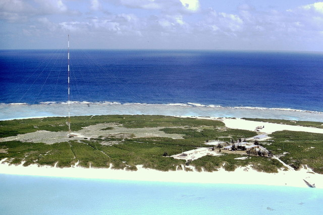 Kure Atoll, seen here in 1971, was a U.S. Coast Guard LORAN station from 1960 to 1992.