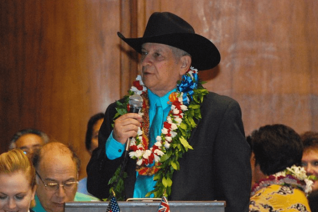 State Sen. Sam Slom dresses the part of the Lone Ranger on opening day of the 2011 legislative session.