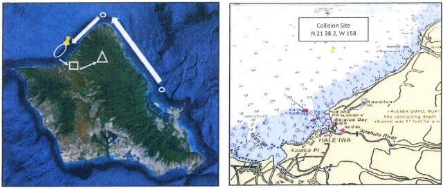 At left, the flight path of the two helicopters shows their journey from the base at Kaneohe along the North Shore. The location of the collision is at right.