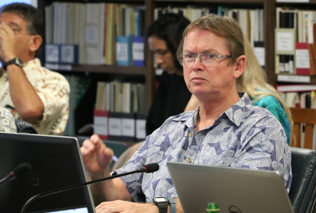 Western Pacific Regional Fishery Management Council's Scientific and Statistical Committee member John Hampton, Secretariat of the Pacific Community, considers a point during the SSC meeting, Oct. 5, 2016, in Honolulu.
