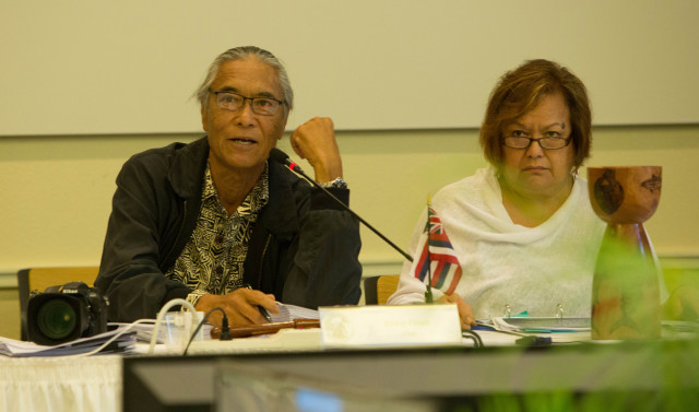 Western Pacific Regional Fishery Management Council Chair Edwin Ebisui, left, and Executive Director Kitty Simonds, seen here at Wespac's meeting Friday in Honolulu, want to look deeper into the effects of the expanded marine monument in the Northwestern Hawaiian Islands.