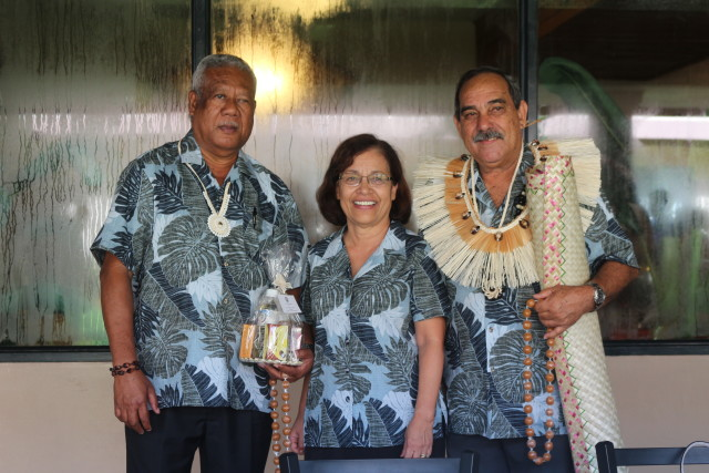 Marshall Islands President Hilda Heine with Palau Minister of State Billy Kuartei , left, and Federated States of Micronesia President Peter Christian at the Pacific Islands Forum in September 2016.