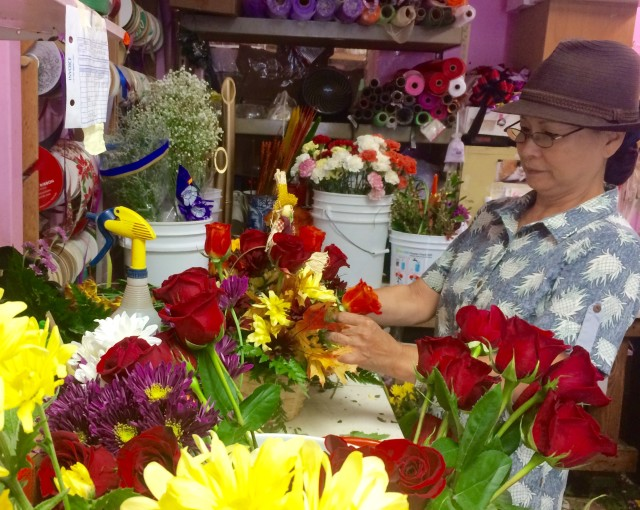 Kay Kadooka owns Christine's Floral in Chinatown next door to River of Life. 17 Nov 2016