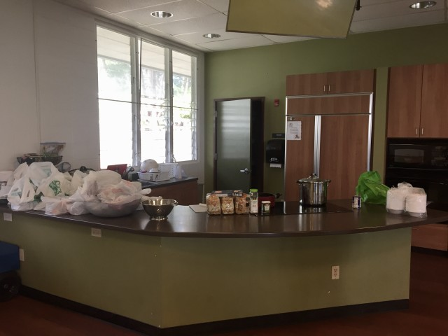 The kitchen, pictured after being stocked by the Hawaii Food Bank, is used to feed activity participants and for demonstrations.