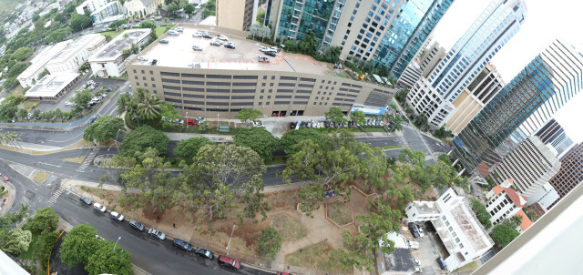 This panorama of Kamalii Park shows its triangular shape.