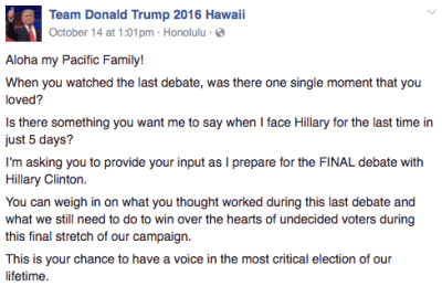 A screenshot from the Team Donald Trump 2016 Hawaii Facebook page.
