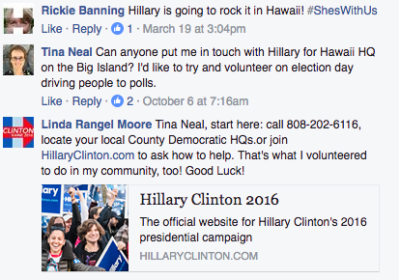 Screenshot from the Hawaii for Hillary Campaign Honolulu Headquarters Facebook page.