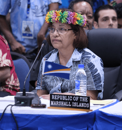 President Hilda Heine, shown here at the Pacific Islands Forum Summit in September, says rising sea levels are threatening her island nation.