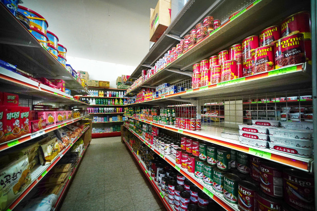 Mostly canned goods at a Tinian store. 27 aug 2016