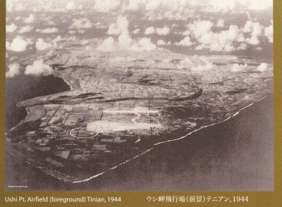 photo from National Archives. Ushi Point Airfield foreground Tinian 1944