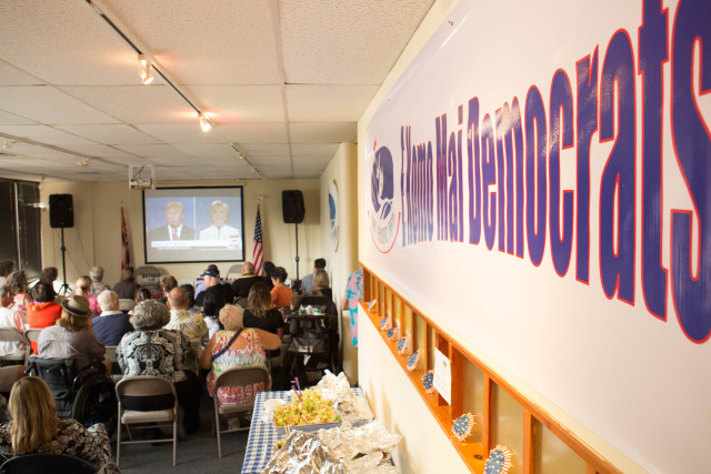 Democratic Party of Hawaii headquarters during the third and final presidential debate in late October.