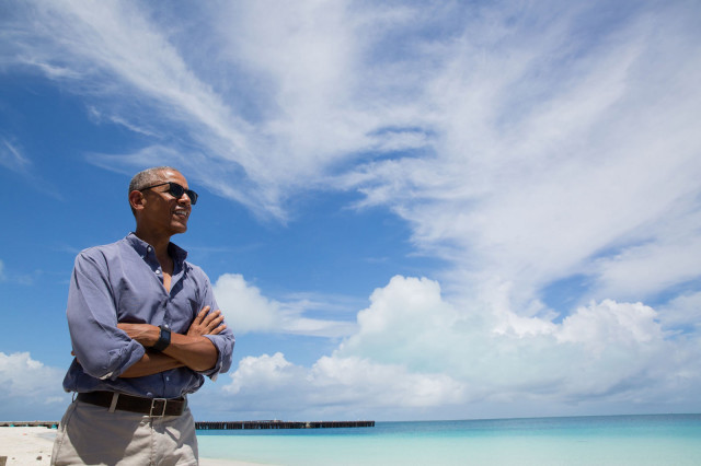 President Barack Obama visits Turtle Beach on Midway Atoll, Sept. 1, 2016. Days earlier he used his executive authority to quadruple the size of Papahanaumokuakea Marine National Monument, which includes the atoll.