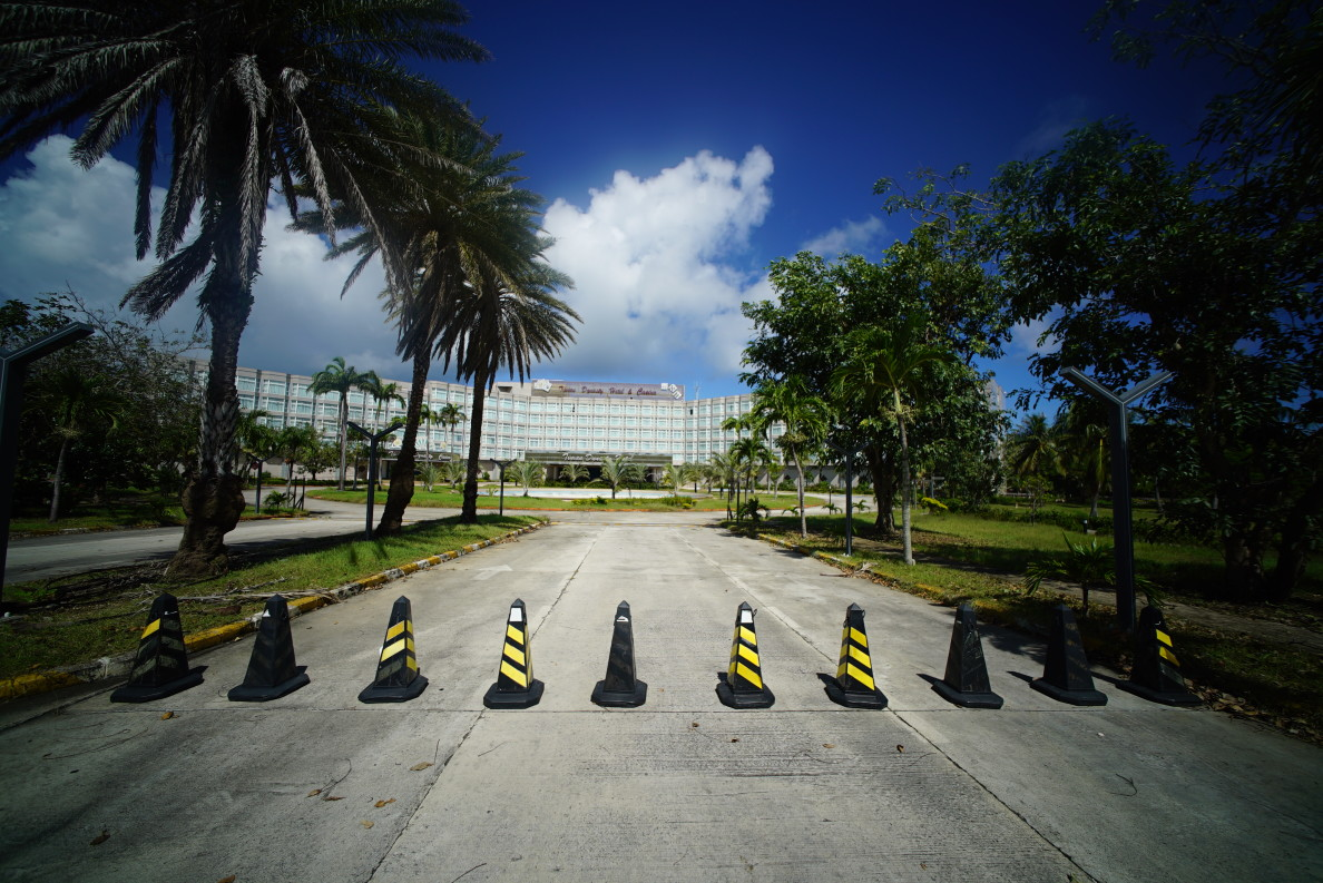 The road to the Tinian Dynasty on Tinian is blocked off after owners declared bankruptcy and shut down the hotel and casino.