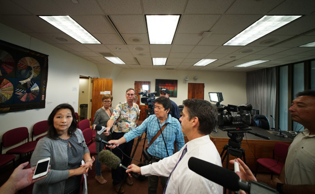 Finance Chair Sylvia Luke responds media scrum after gov Ige announced the 2017 budget. 19 dec 2016