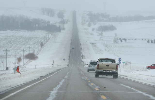 Highway 138 south to Standing Rock North Dakota with snow covered landscape. 1 dec 2016