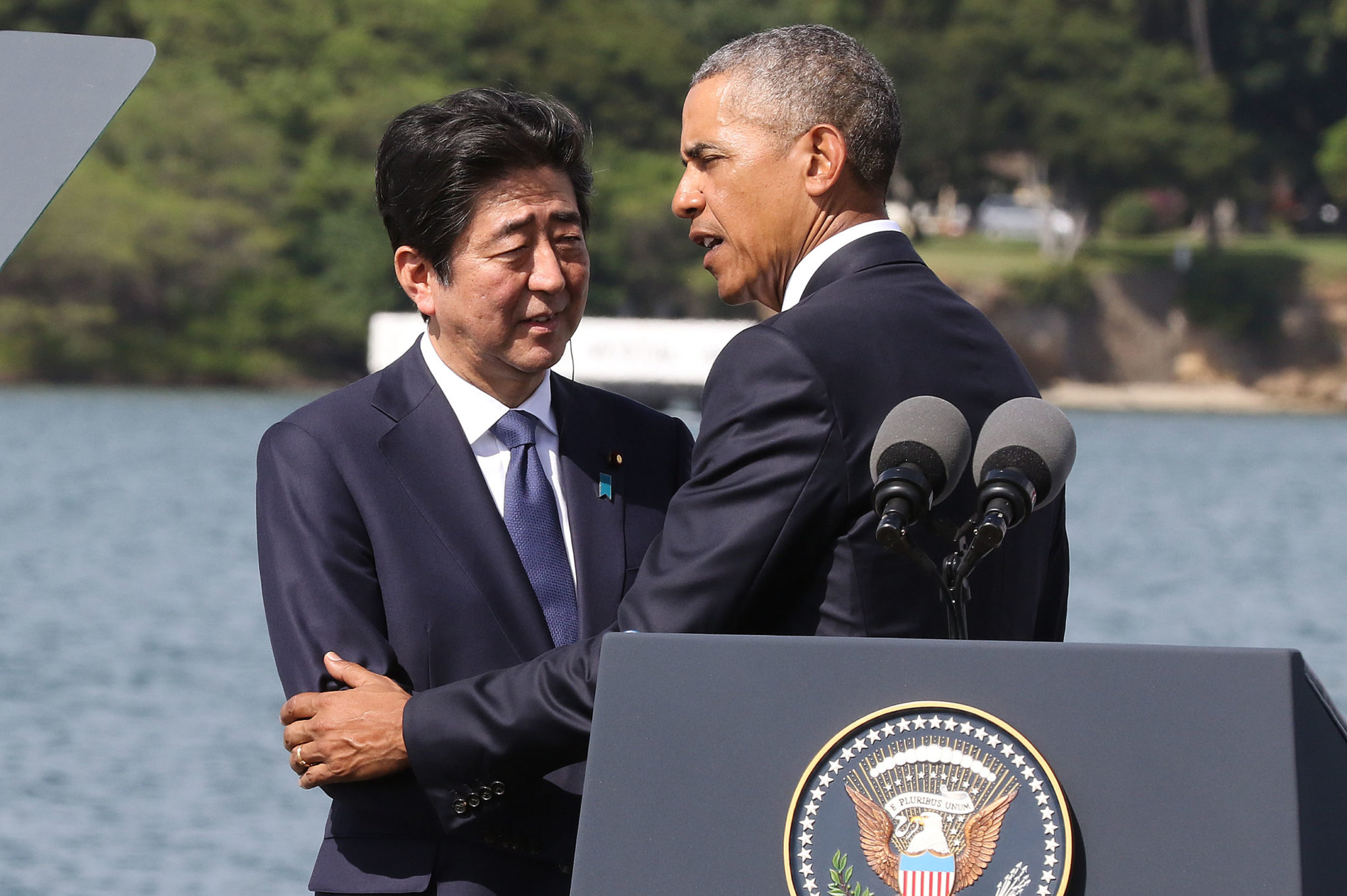 <p>Dec. 27: Japanese Prime Minister Shinzo Abe and President Barack Obama meet at Pearl Harbor, where Abe expressed his &#8220;sincere and everlasting condolences&#8221; for the deadly attack by Japan on Dec. 7, 1941. <em>Cory Lum/Civil Beat</em></p>