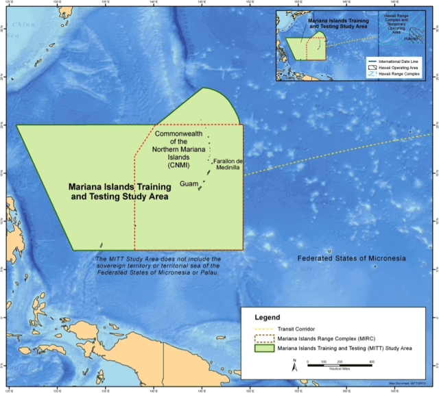 The military recently doubled the area around the Mariana Islands where it has permission to practice sonar and underwater explosives.
