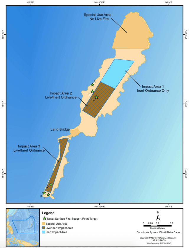This map shows where the military is training on Farallon de Medinilla.
