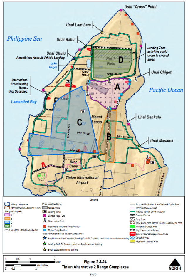Here's where the Navy wants to train on Tinian. The pink dotted area would be a bombing range.