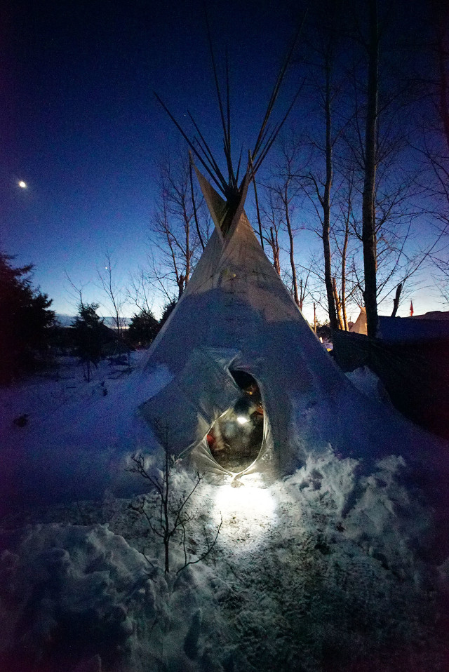 Standing Rock Hawaii Leomana Turalde greets us at the tipi that he and Mikey are staying in. Rosebud camp. North Dakota. 4 dec 2016