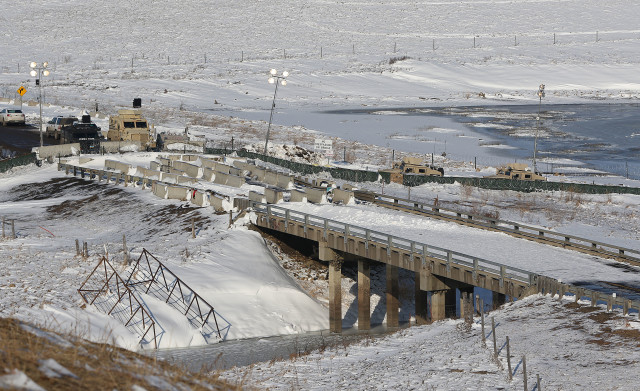 Standing Rock Highway 1806 bridge Police barriers. 3 dec 2016