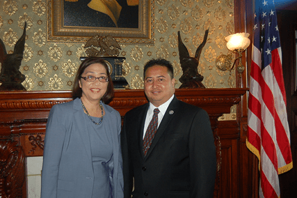 Esther Kiaaina from the Interior Department stands with CNMI Gov. Ralph Torres in Washington, D.C. They've been having formal discussions about labor issues and military training in the commonwealth.
