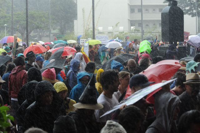 People gather together despite the rainy weather to show support for the Women's March in Honolulu, HI Saturday, January 21, 2017. (Civil Beat photo by Ronen Zilberman)