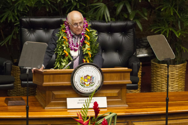 House of Representative Speaker Joseph M. Souki addresses the House to open the 2017 Legislation session at the Hawaii State Capitol, Wednesday, Jan. 18, 2017, in Honolulu. Photo by Eugene Tanner/Civil Beat