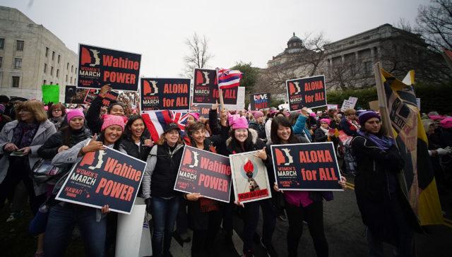 Hawaii marchers 2017 Womens March Washington DC. 21 jan 2017