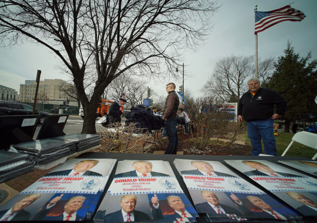 Trump Inauguration 2017 memoribilia Capitol. Stuff on tables near the Hart, Senate office building, washington DC. 19 jan 2017. photograph Cory Lum/Civil Beat