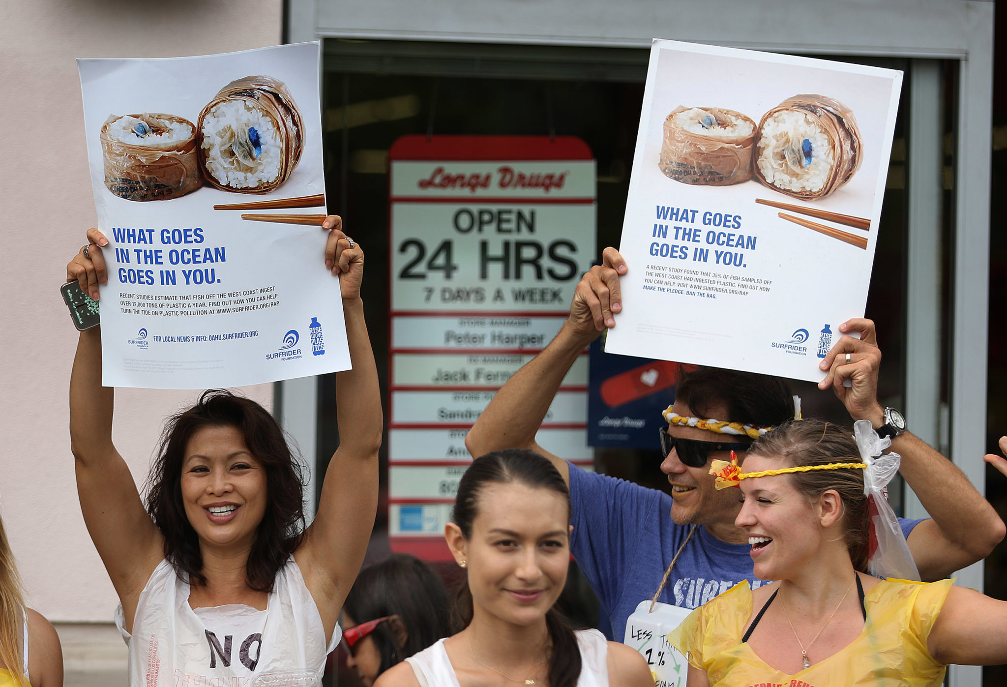 <p>The protesters targeted Longs, Wal-Mart and Nico&#8217;s Pier 38 restaurant.</p>